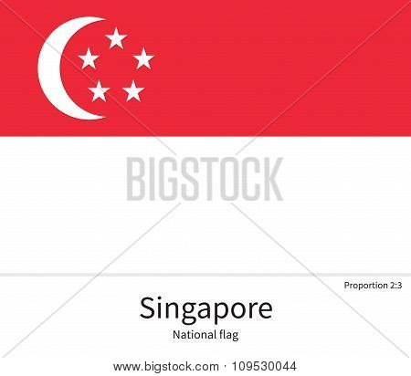 National flag of Singapore with correct proportions, element, colors