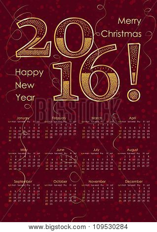 2016 Calendar Typography Inscription In Gold Color. A3 Format