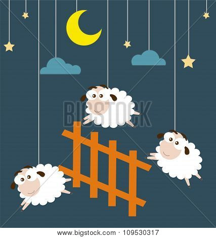 Sheep And Fence Hanging On The Ropes With Night Scene