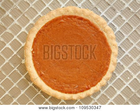 Fresh Baked Pumpkin Pie. Shot from above for a unique view. Perfect for all your Holiday Pie needs.