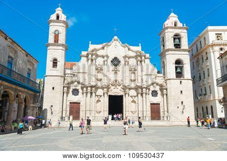 HAVANA,CUBA - NOVEMBER 12, 2015 : The Cathedral of Havana on a beautiful sunny day