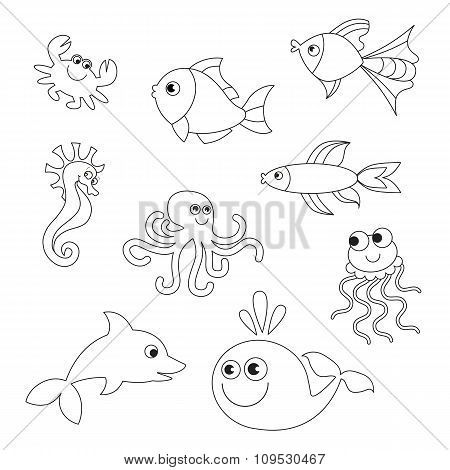 Underwater animals collection to be colored.
