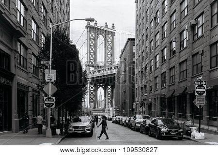 View Of Manhattan Bridge From Brooklyn In New York.