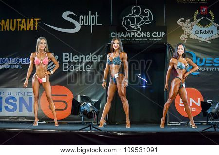 MOSCOW, RUSSIA - NOVEMBER 21, 2015: Unidentified athletes participate in Bodybuilding Champions Cup during SN Pro Expo Forum 2015 on November 21, 2015 in Moscow, Russia