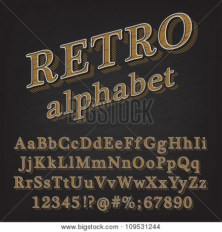 Retro Vintage Style Alphabet font with Lined Shadow. Type letters, numbers and punctuation marks. Vintage design vector font.