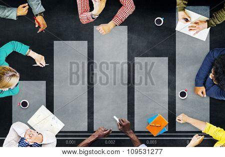 Bar Graph Analysis Achievement Improvement Strategy Success Concept