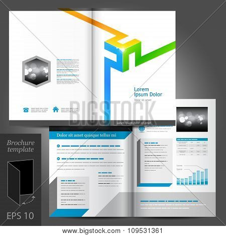 Brochure Template Design With Color Elements