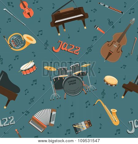 Seamless vector pattern with musical instruments