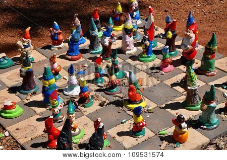 Gnomes on Checkerboard: Gnomesville, Western Australia