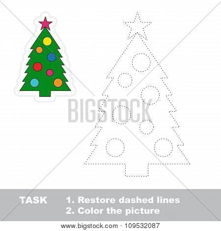New year tree to be traced. Vector trace game.