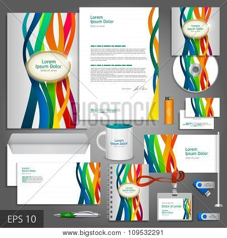 Color Corporate Identity Template With Stripes