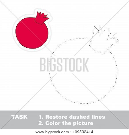 Pomegranate to be traced. Vector trace game.