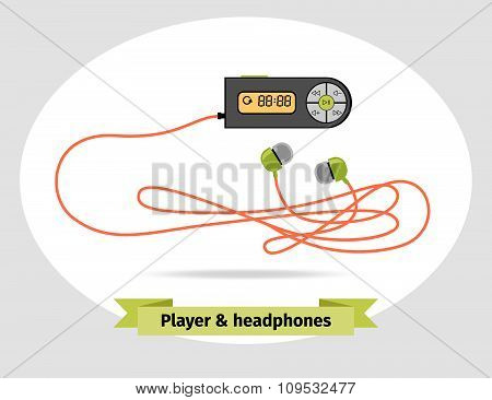 Player with headphones