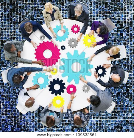 Gear Connection Corporate Team Teamwork Meeting Concept