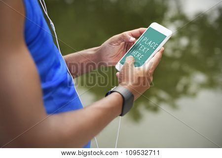 Man Using Smart Phone Network Internet Concept