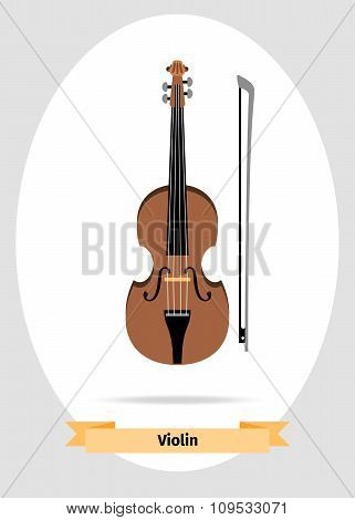Musical instrument violin vector isolated