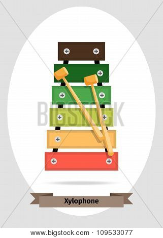 Musical instrument xylophone vector isolated