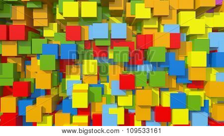 3D Rainbow Area Background Cube Abstract Pattern