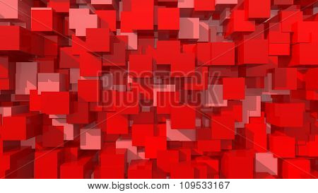 3D Red Area Background Cube Abstract Pattern