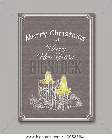 Christmas Candle  in doodle style. Creative Greting Card. Vector background