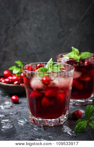 Refreshing Cocktail With Cranberry And Ice, Selective Focus