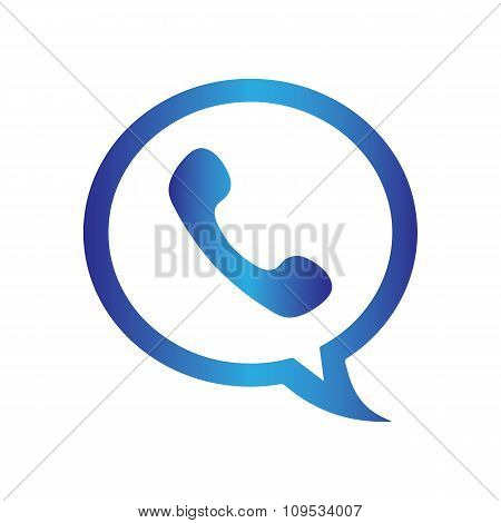 Blue phone handset in speech bubble flat icon on a white background. Call center vector illustration