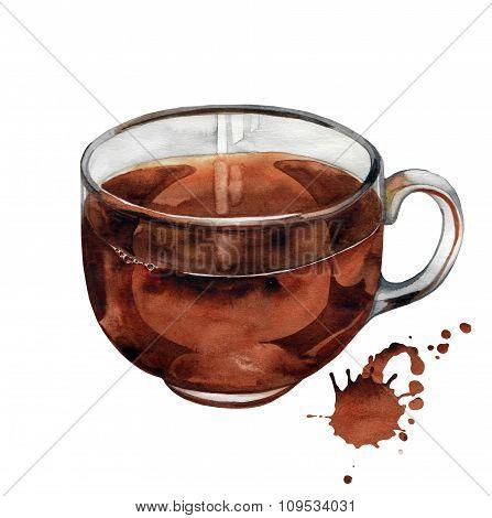 Watercolor black tea cup