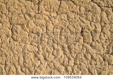 Old Wall Plastered With Mud Closeup