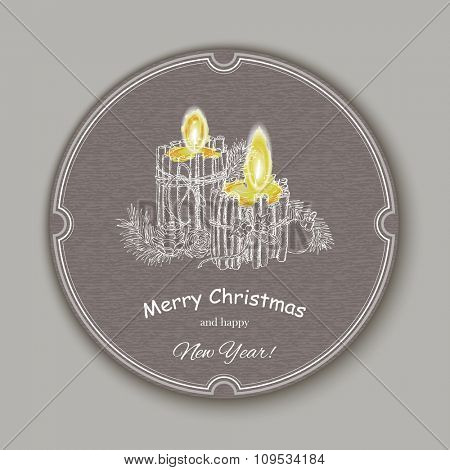 Christmas Candle  in doodle style. Creative Greeting Card. Vector background