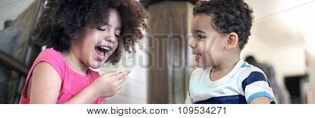 African Kids Play Togetherness Cheerful Concept