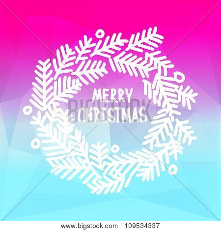 Square design with Christmas wreath on gradient background