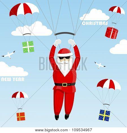 Santa Claus on a parachute.