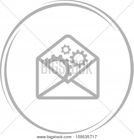 mail with gears. Internet button. Raster icon.