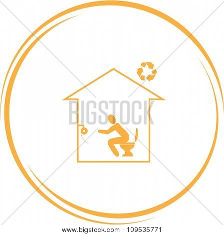 home toilet. Internet button. Raster icon.