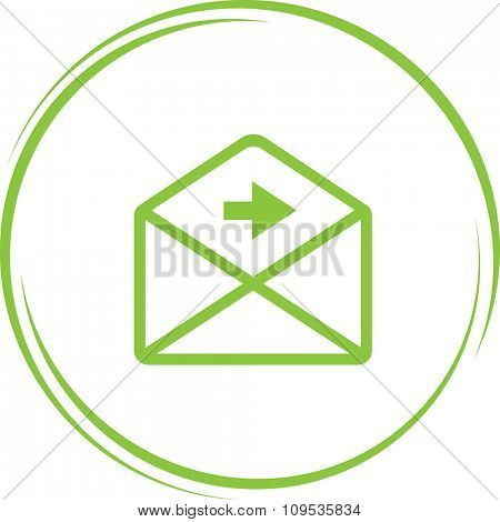 mail right arrow. Internet button. Raster icon.