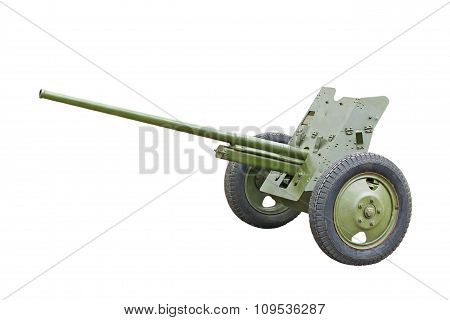 The 45-mm Russian Division Cannon Gun From Wwii.isolated.