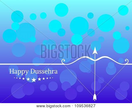 White text calligraphy inscription Happy Dussehra festival Indian with bow and colorful balls on blu