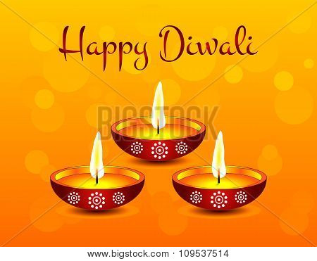 Text calligraphy inscription Happy Diwali festival India with lamp oil balls on orange background. V