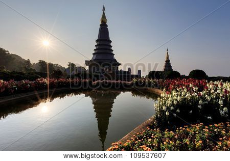 Landscape Of Two Pagoda On The Top Of Inthanon Mountain, Chiang Mai, Thailand