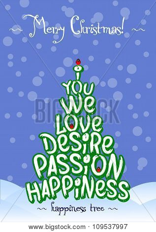 Christmas Happiness love tree card design