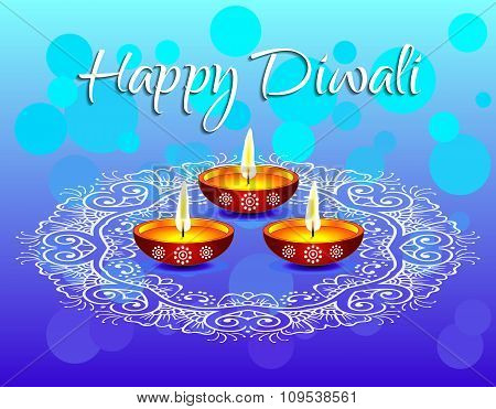Beautiful white text calligraphy inscription Happy Diwali festival India with lamp oil balls on blue