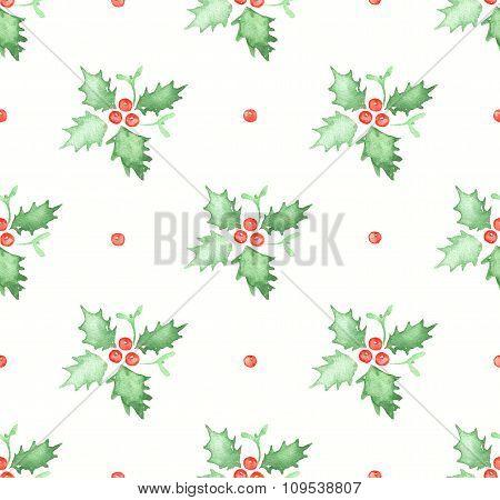 Watercolor Seamless Pattern With Mistletoe