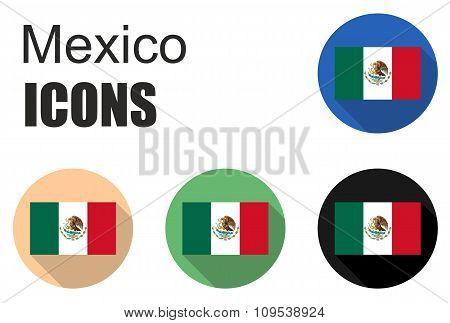 Set Mexico Flat Icons
