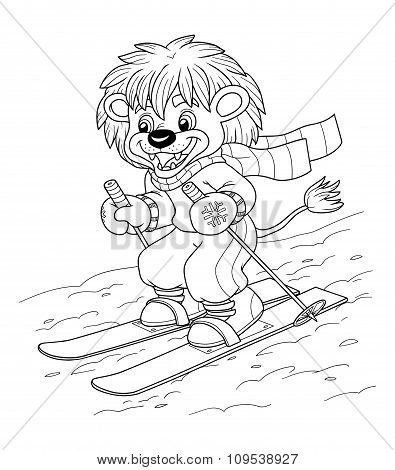 Coloring Book For Children: Little Lion Skiing
