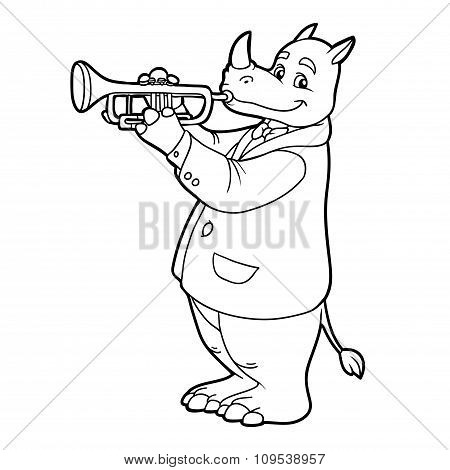 Coloring Book For Children: Rhino And Trumpet