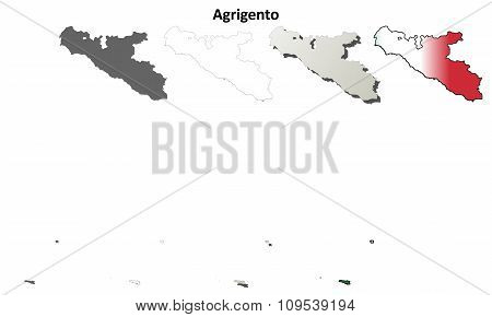 Agrigento blank detailed outline map set