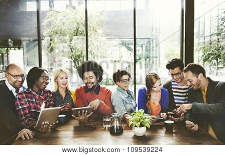 People Meeting Communication Technology Digital Tablet Concept