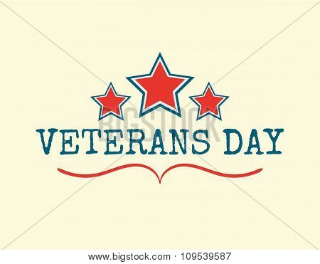 Text Happy Veterans Day flag and stars vector illustration design banner or a stamp on white backgro