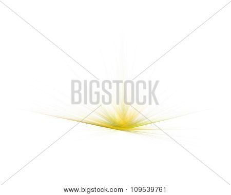 Bright Yellow Flower Dandelion Or Grass, Creative Abstract Fractal Illustration, Isolated On White B