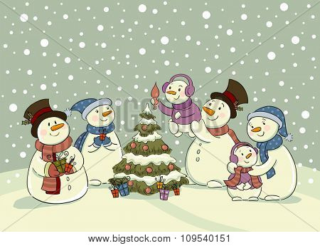 The family of snowmen dresses up a fur-tree , Vector illustration for banners, backgrounds and decorations.